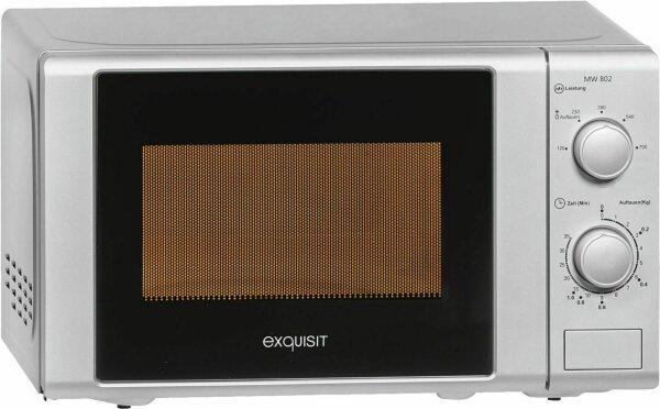 Exquisit MW 802 Kompakt Mikrowelle Freistehend 5 Leistungsstufen Silber 20L 700W
