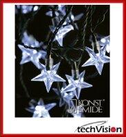 LED Deko Lichterkette Acryl Sterne 40 kalt weiße...
